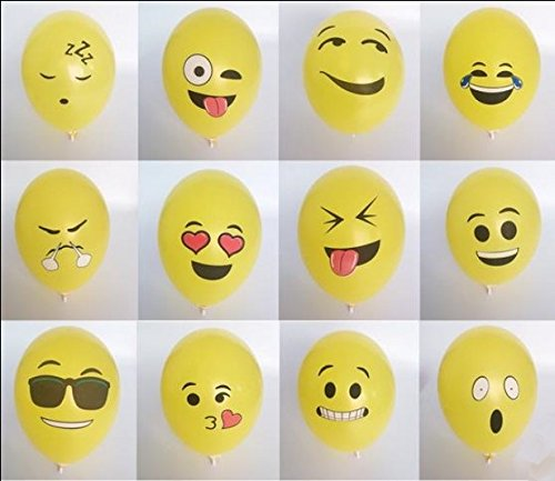 The king's store, 12 inches thickening the smiling face of latex balloons, lovely smile of 12 different balloons (100 PCS) ()