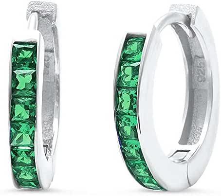 Princess Cut Lab Created Green Emerald Hoop .925 Sterling Silver Earrings