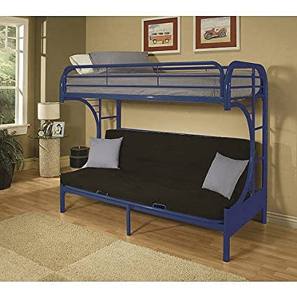 Amazon Com Blue Twin Over Futon Metal Bunk Bed Guard Rails