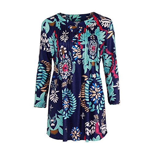 〓COOlCCI〓Womens 3/4 Sleeve Roundneck Floral Shirts, Button Floral Print Tunic Tops Casual Loose Tunic T-Shirt Blouse Sky Blue ()