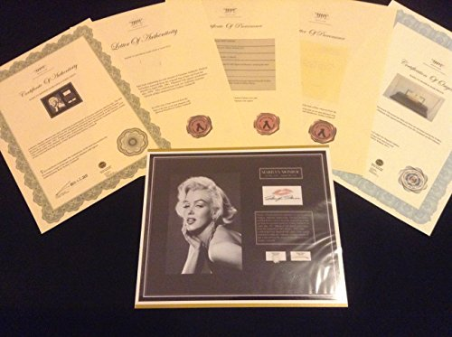 -MARILYN MONROE Hair Lock w Towel Piece Autograph Certified Signed COA Authentic