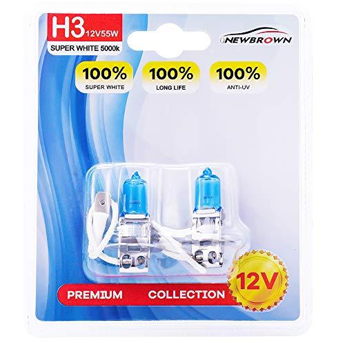H3 Halogen Headlight Bulb with Super White Light PK22S 12V/55W 5000K, 2 Pack, 1 Yr Warranty ()