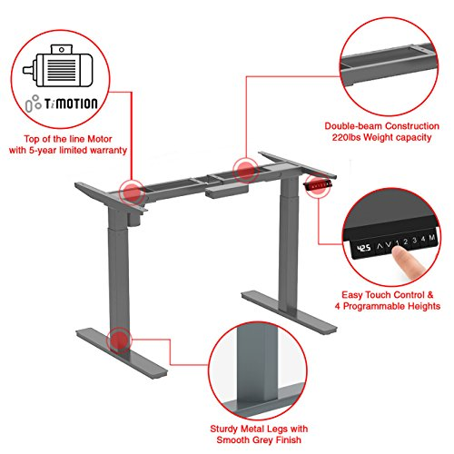 Clevr 46'' Height Adjustable Electric StandUp Office Desk Base Frame, Single Motor Ergonomic Standing Workstation, Grey | Frame Only | Up to 220 lbs. Capacity| Adj. Width up to 63'' by Clevr