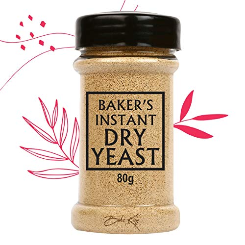 BAKE KING Baker's Instant Yeast 80GM Yeast Powder for Pizza Base Pantry Baking Bread and Cake, Khamir Dry Yeast Powder 80GM Yeast for Pizza Base 80Gm Yeast