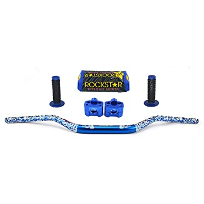 "JFG RACING Dirt Bike Handlebar Set 1 1/8"" Universal Fat Bars bar Pad + Pit Bike Handlebar Clamp + Motorcycle Handlebars Grips For Yamaha YZ80 YZ85 YZ125 YZ250 YZ250F YZ400F YZ426F Blue: Automotive"