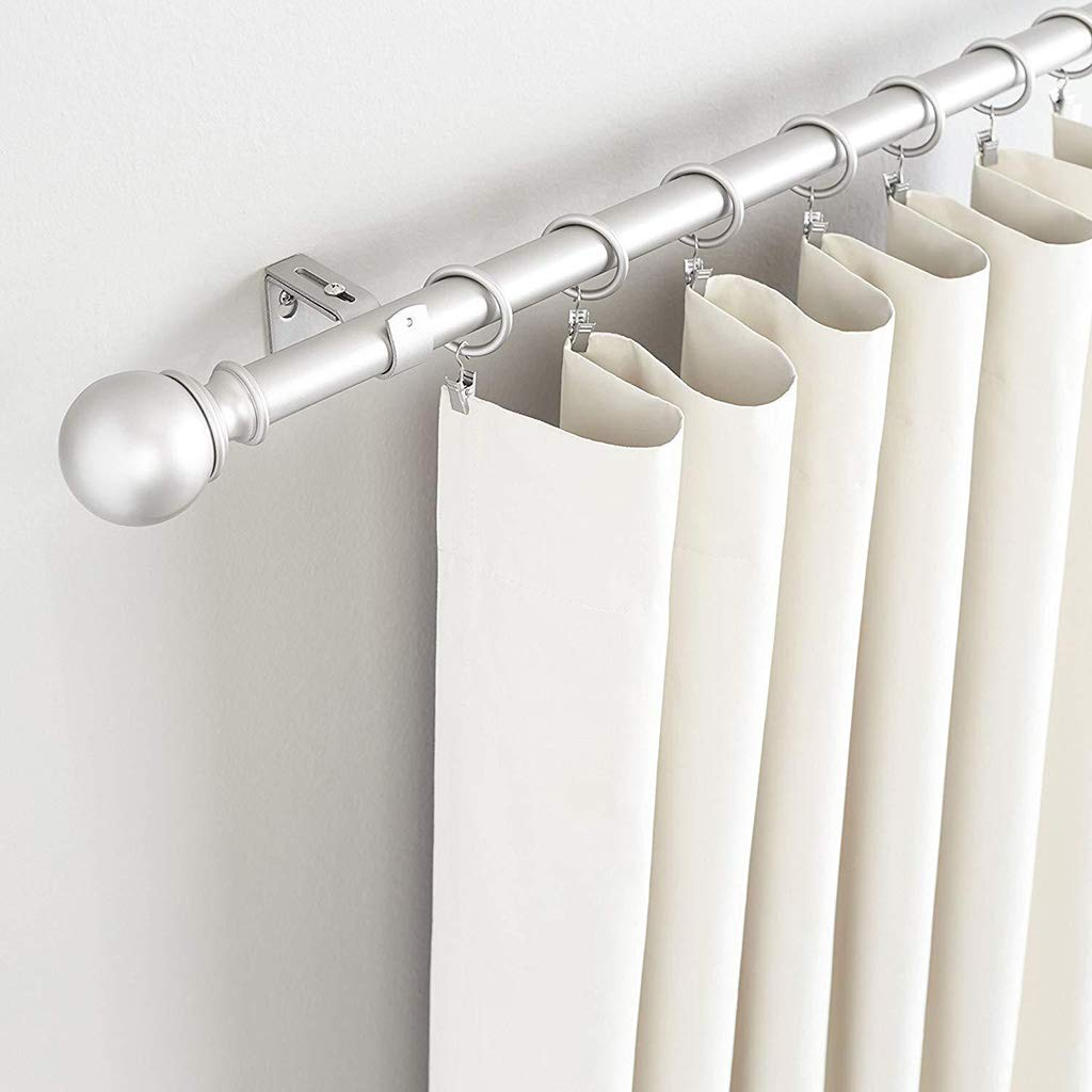 Curtain Rod Wall Bracket Hooks ZERIRA Adjustable Curtain Rod Brackets,Set of 2,Premium Steel Single Rod Bracket for Curtains Extendable Metal Wall Bracket Black