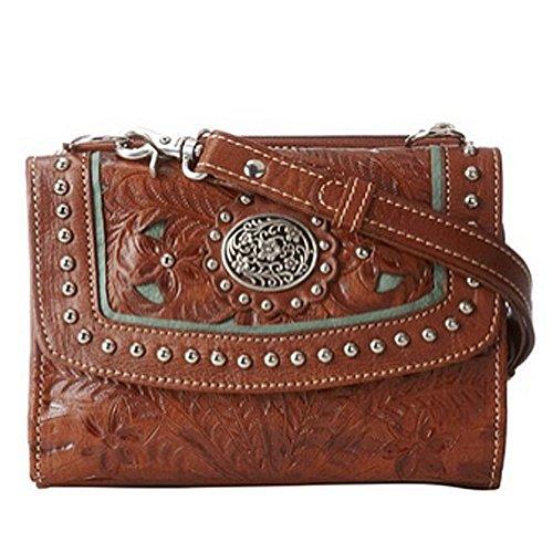 American West Two Cuero Paso del Cruz-cuerpo del bolso de la cartera Brown & Turquoise