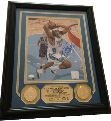 New York Knicks/Denver Nuggets Carmelo Anthony Autographed/Signed 8x10 Framed Highland Mint Photo #15 THE DUNK