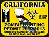 California Zombie Hunting Permit 2012/2013 (Bumper Sticker)