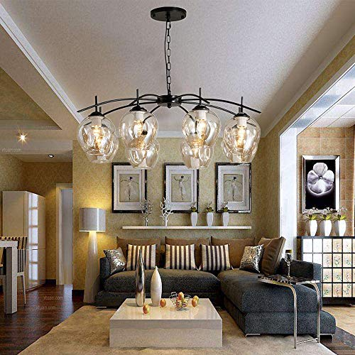 Modern Chandelier Lights, 8 Lights E26 Nordic Magic Bean Ceiling Chandelier Pendant Lamps with Glass Lampshade, Pendent…
