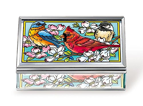 Amia Songbird and Cardinal Glass Jewelry Box, Multicolored (Hand Painted Box)