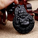 Feng Shui Peach Wood Curved Money (Laughing Happy Buddha) Key Ring for Wealth