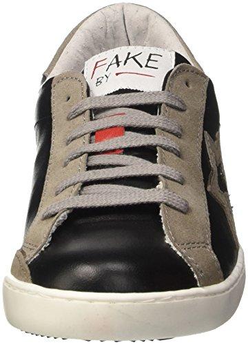 Fake By Chiodo F 834, Scarpe Low-Top Unisex-Adulto Nero (Nero/ Ardesia)