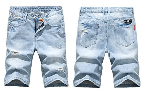 Heart Yuxuan Men's Fashion Slim Casual Denim Short (30, Light Blue)