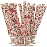 Pink Wedding Party Floral Straws (25 Pack) - Pink Fancy Dinner Party Supplies, Formal Birthday Flower Straws, Pink…