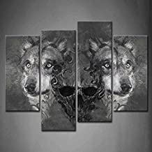 First Wall Art - 4 Panel Wall Art Black And White Wolf Over And Human Skeleton Painting Pictures Print On Canvas Animal The Picture For Home Modern Decoration piece (Stretched By Wooden Frame,Ready To Hang)