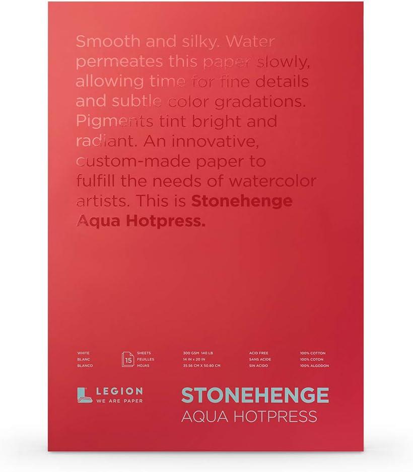Legion Stonehenge 水彩アクア ブロック (L21-SQH140WH1420) 140ホットプレス 14×20インチ 15枚 ホワイト