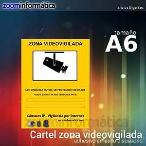 cartel A6 zona vigilada video vigilada de adhesivo camara camaras ip informativo LOPD