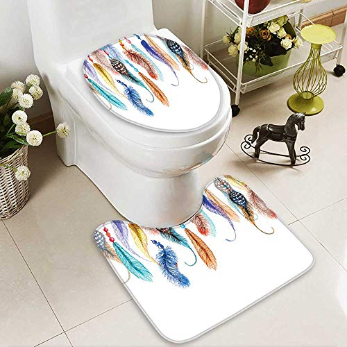 SOCOMIMI Bathroom Non-Slip Rug Set Decor Primitive Hippie South Western Dove Eagle Hawk Raven Feathers Artwork Multi in Bath Mat Bathroom Rugs