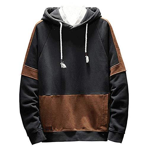 NRUTUP Men's Pullover EcoSmart Fleece Hooded Sweatshirt Contrast Color Mosaic Long-Sleeved Sweatshirt.(Black,XXL)