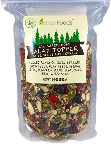 - Raw Superfoods Salad Toppings Mix (Goji Berries, Raisins, Almonds, Chia, Flax, Pumpkin, Sesame and Sunflower Seeds) 24 oz