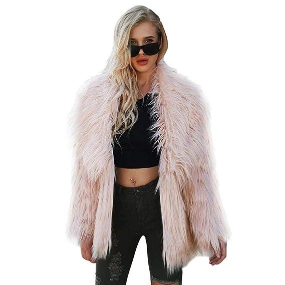 Biback Mujer Invierno Abrigo Piel Sintética, Chaqueta Mujeres Shaggy Faux Fur Coat Outwear Otoño e InviernoF0001 Piel sintética Una Chaqueta Abrigada Abrigo ...