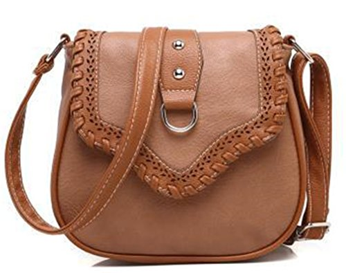 Freestanding Saddle Rack - NEW Women Hollow Out Leather Shoulder Bag Saddle Crossbody Bags apricot