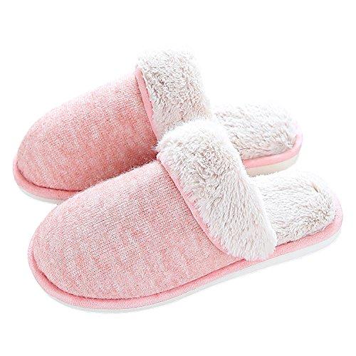 bestfur Womens Winter Warm Comfortable Knitted Fabric Plush Home Slippers Pink DOR8QOMdBC