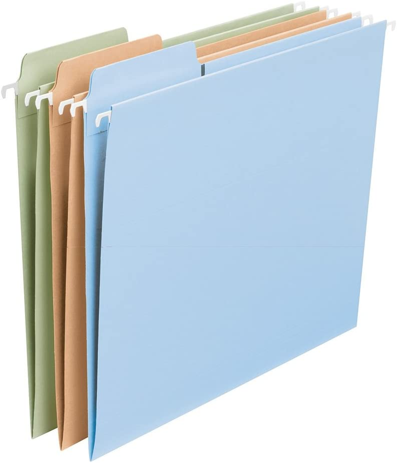 Smead FasTab Hanging File Folder, 1/3-Cut Built-in Tab, Letter Size, Assorted Colors, 18 per Box (64054)