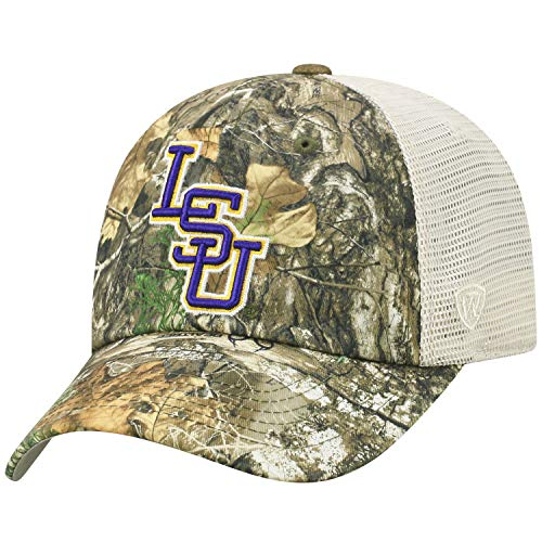 Top of the World LSU Tigers Official NCAA Adjustable Sentry Realtree Poly Twill and Mesh Hat Cap - Tiger Poly Camo