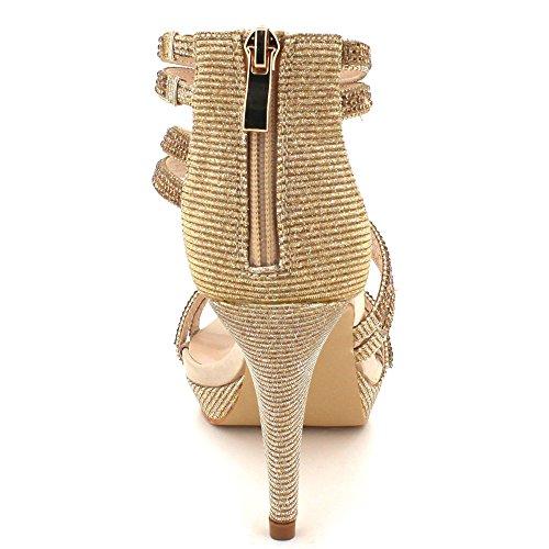Para punta AARZ zapatos dorada semana de fin de brillo fiesta de de baile mujer alto abierta sandalias LONDRES talla tacón con bodas de XwXHrf5q