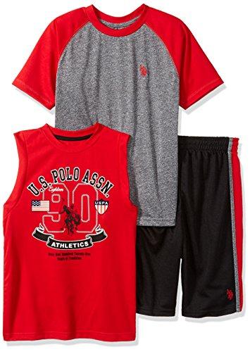 Elle Set - U.S. Polo Assn. Boys' Little T-Shirt, Tank and Mesh Short Set, Printed Color Block el red, 4
