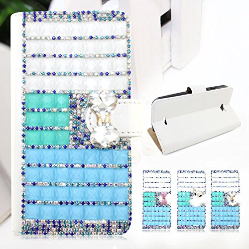 Scheam For HTC Zara/Desire 601 Shiny Diamonds PU Leather Flip Stand Case Cover Wallet Card Slots with Magnetic Closure (White Bowknot)