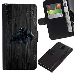 UNIQCASE - Samsung Galaxy Note 3 III N9000 N9002 N9005 - Carolina Panther Football - Cuero PU Delgado caso cubierta Shell Armor Funda Case Cover
