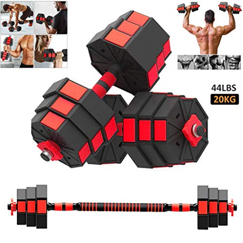 626 Dumbbells Pair Adjustable Dumbbell Barbell Set Weight 44Lbs Gym Workout Exercise Training with Connecting Rod Used…