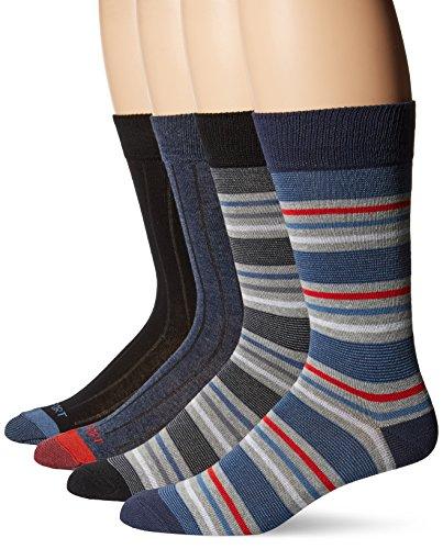Rockport Men's Ribbed Striped Crew Sock, Black/Navy, Sock Size:10-13/Shoe Size: 6-12