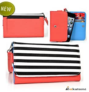 CORAL & STRIPES | Samsung Rex 90 S5292 Phone Case Universal - Women's Wallet Clutch. Bonus Ekatomi Screen Cleaner