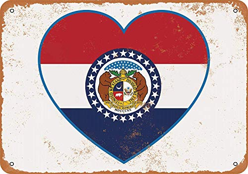 Tisigns Vintage Look 8 x 12 inch Metal Tin Sign Missouri Heart Flag Home Decor Art Poster