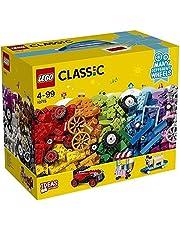 LEGO10715ClassicBricksonaRollConstructionSet,ColourfulVehicleToyBricks,BuildingPlaysetwithTiresandWheels(422Pieces)