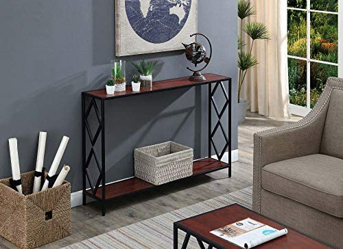Convenience Concepts Diamond Metal Console Table, Cherry Black