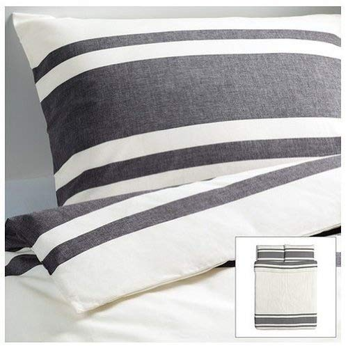 Ikea Bjornloka 3pc Full/Queen Duvet Cover Set, Black, White, 100 % Cotton