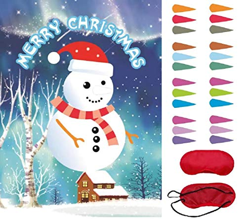 Pin The Nose on The Snowman Reusable Christmas Holiday Party Game with Blindfold Xmas Gift New Year Decoration Christmas Party Favor Supplies for Kids Girls Boys (Snow Man B)