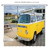 Minicoso ShowerCurtain Adelaide, Australia August 14, 2016 Classic yellow Volkswagen Transporter camper van parked on a street at Middleton beachfront Polyester Fabric Bathroom Shower Curtain