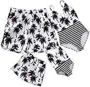 IFFEI Family Matching Swimsuit One Piece Coconut Tree Striped Beach Wear Monokini Mommy and Me Bathing Suit