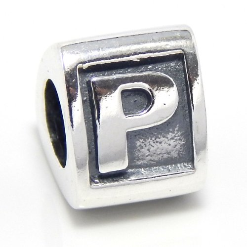 ICYROSE Solid 925 Sterling Silver Three Sided Alphabet Letter Triangle Charm Bead (P)
