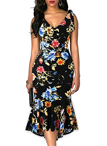 Drimmaks Women's Vintage Floral Spaghetti Tie-Straps Deep V Back Fitted Mermaid High-Low Trumpet Cocktail Party Dress (025-Black Floral 2, L)