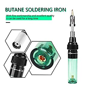 Gas Soldering Iron, Easy to Maintain and Refill Cordless Butane Gas Blow Torch Soldering Pen, Cordless Soldering Iron Gun Welding Pen Tool 1300?(Green) (Color: Green)