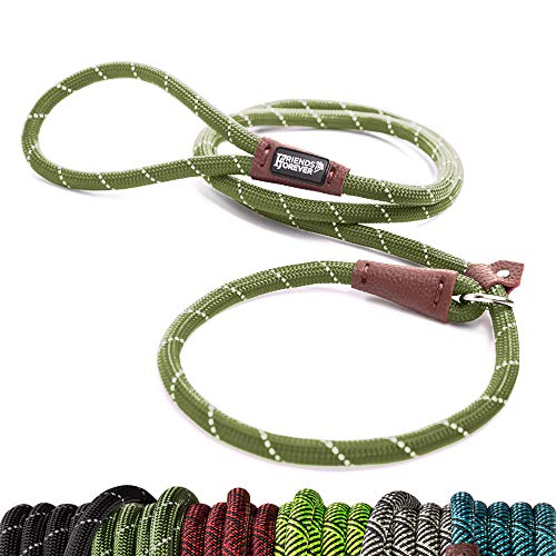 Friends Forever Extremely Durable Dog Rope Leash, Premium Quality Mountain Climbing Rope Lead, Strong, Sturdy Comfortable Leash Supports The Strongest Pulling Large Medium Dogs 6 feet, Olive ()