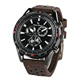 V6 Mens Watches,Fashion Business Sports Quartz Watch with Comfortable Leather Band-Military Luxury Watch for Men (Brown)