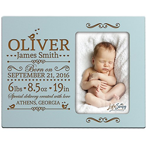 Personalized New Baby birth announcement picture frame for newborn boys and girls Custom engraved photo frame for new mom and dad parents and grandparents (Light Blue) from LifeSong Milestones